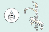 exploded view of a kitchen faucet