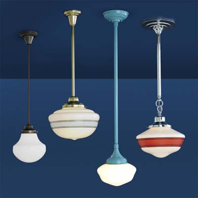 grouping of decorative glass shade pendant lights