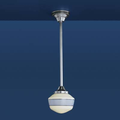 schoolhouse pendant light in polished chrome with periwinkle banding