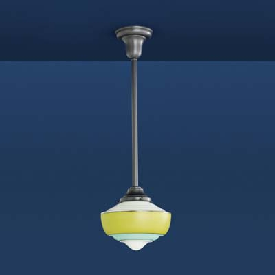 schoolhouse pendant light in antique black with lime and aqua stripes