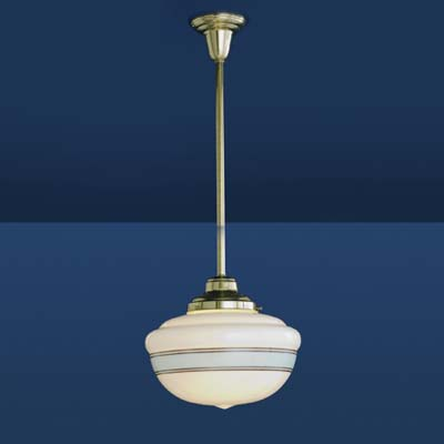 schoolhouse pendant light in brass with hand-blown, pin-stripe shade