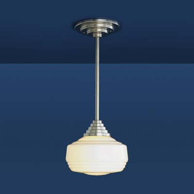 schoolhouse pendant light in satin nickel, with Art Deco designed shade and stem
