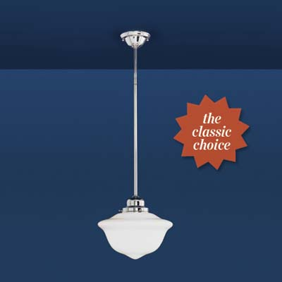schoolhouse pendant light in polished nickel, with a clean-lined flared shade