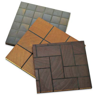selection of the sustainable hardwood tiles available from treeborn mosaic tiles