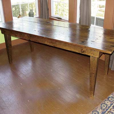 custom handcrafted table made with salvaged and deconstructed pine woods