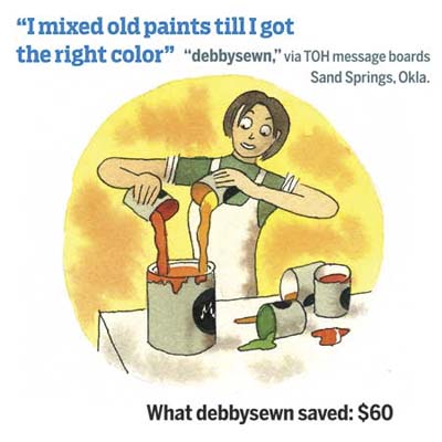 quote from homeowner and illustration of woman mixing smaller cans of paint in a larger can