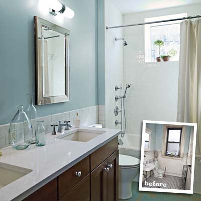 remodeled bathroom showing open layout contrasted with inset photo of original layout