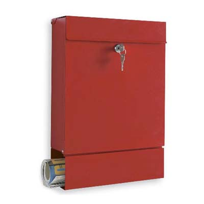 locking red mailbox with paper holder on the bottom