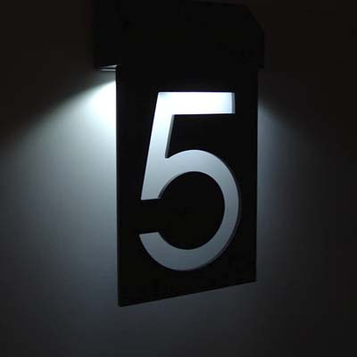 example of a number five solar powered l e d house number from matterinc
