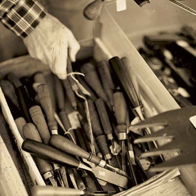 chisels at the brimfield antique show in massachusetts