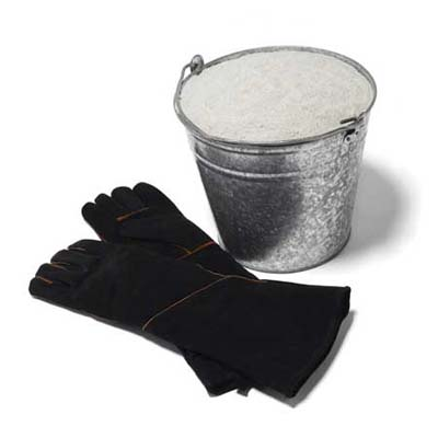 fireproof gloves and sand bucket for fire pit