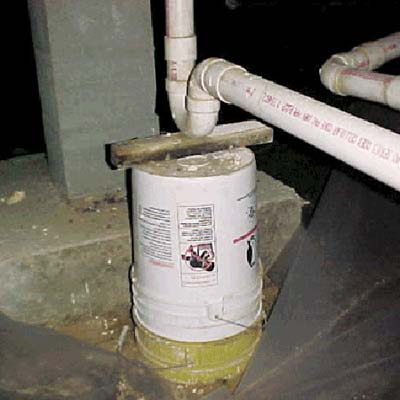 drain system supported by plastic bucket