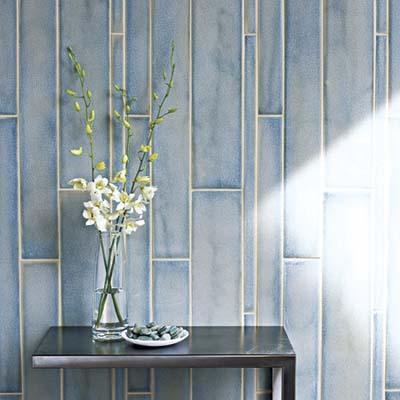 tiles behind a flower vase