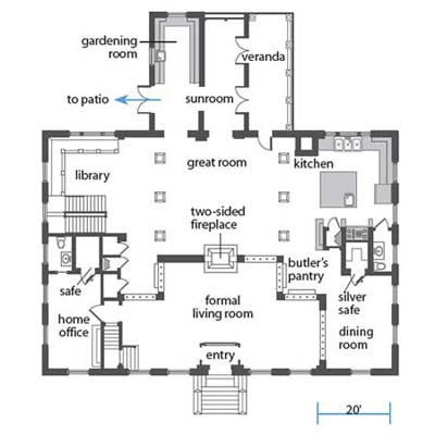 after first-floor floor plan in former post office turned into a home