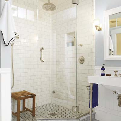 new shower in remodeled bathroom