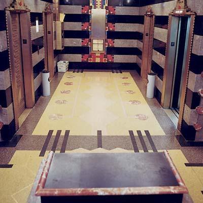 Terrazzo flooring in the building at film center