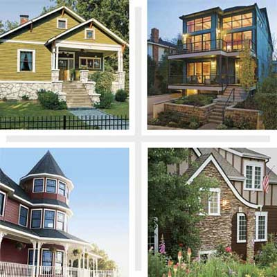 composite of four houses showing a variety of wood window styles