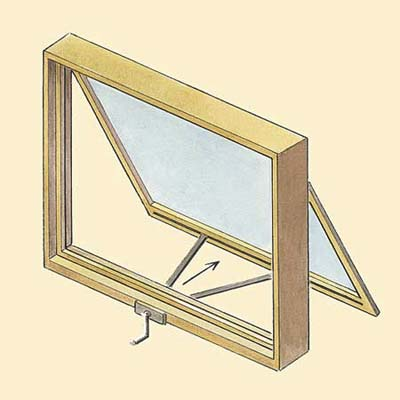 example of the awning and hopper wood window style