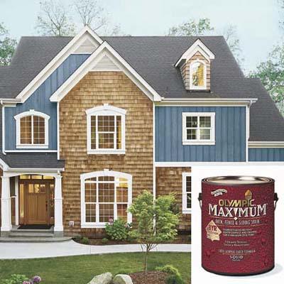 house with dusky blue finish