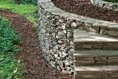 a mortared-stone retaining wall