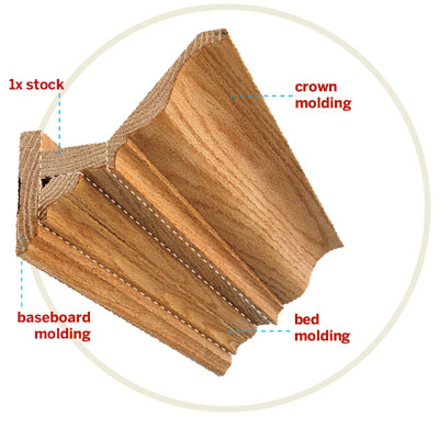 diagram showing the anatomy of crown molding