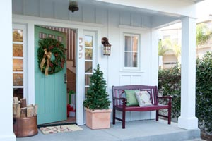 an entryway decorated for the Christmas holidays