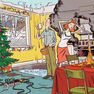 illustration of holiday disaster in kitchen
