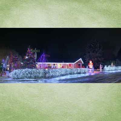 house in champaign, illinois; holiday home decorations and holiday lights