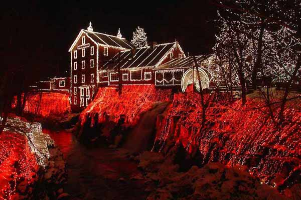 Clifton Mill, Clifton Ohio holiday lights
