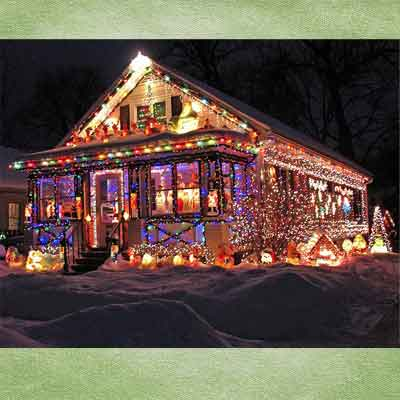 holiday house in madison, wisconsin; holiday home decorations and holiday lights