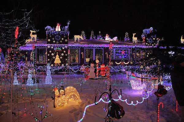 alberta, canada house; holiday lights and holiday home decorations