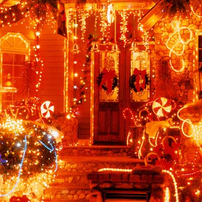 house exterior with many bright christmas lights
