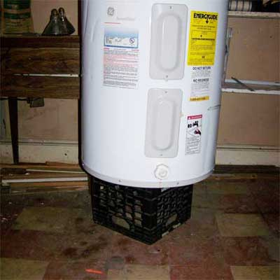 milk crate as sole support and stand for an active water heater