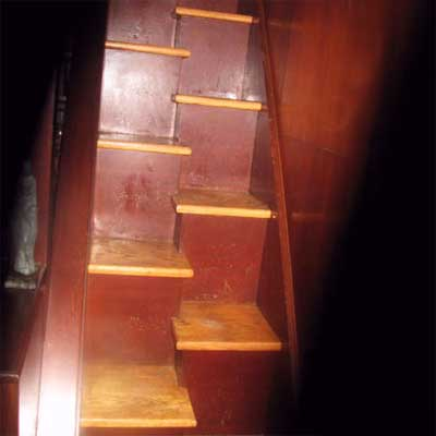 mismatched half-steps cobbled together and leading up to a loft office