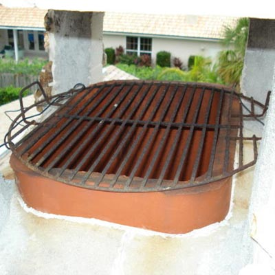 spark arrester made into outdoor barbecue in home inspection
