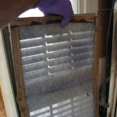 fuzzy furnace filter seen on home inspection
