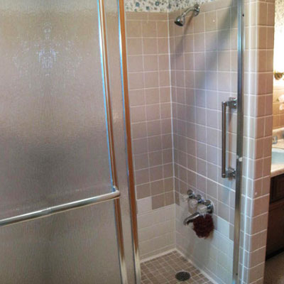 bath tub converted to shower with foot wash seen on home inspection