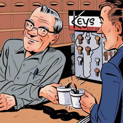 cartoon of man talking with hardware store cashier