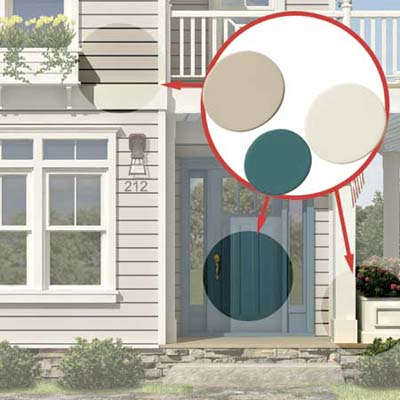 the Photoshop rendering of an architect's proposed changes to a house emphasizing paint colors