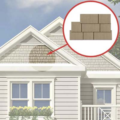 the Photoshop rendering of an architect's proposed changes to a house emphasizing the shingle siding on top