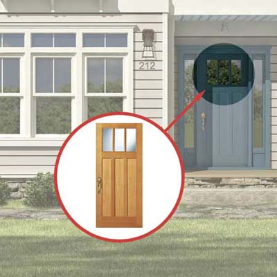 the Photoshop rendering of an architect's proposed changes to a house emphasizing the front door
