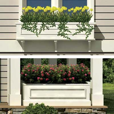 the Photoshop rendering of an architect's proposed changes to a house emphasizing a windowbox and planter