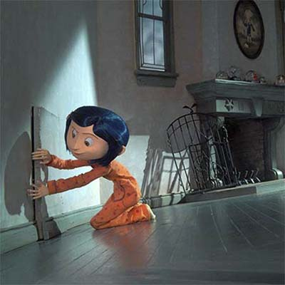 animated figure coraline opening the small door that leads to her other house