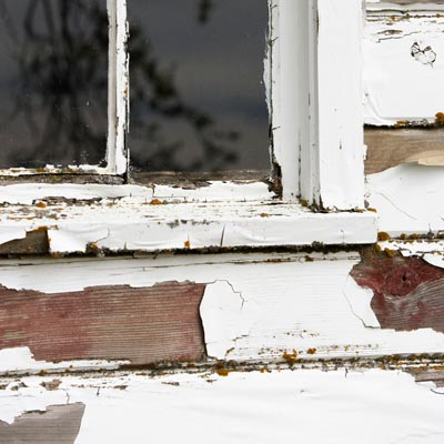 flaking lead paint on house