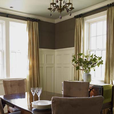 dining room walls refinished with custom wainscot
