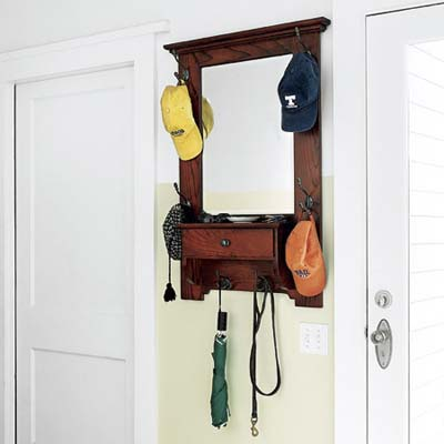 entryway with wall-mounted leash organizer