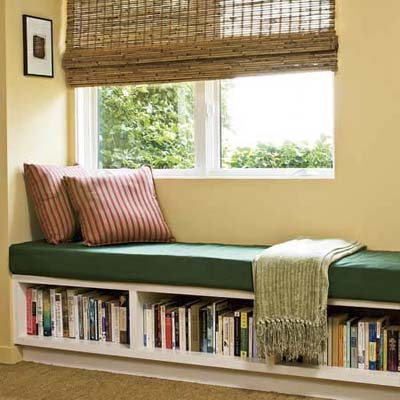 living room window seat with open window