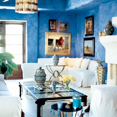 a family room made over in Marrakech style