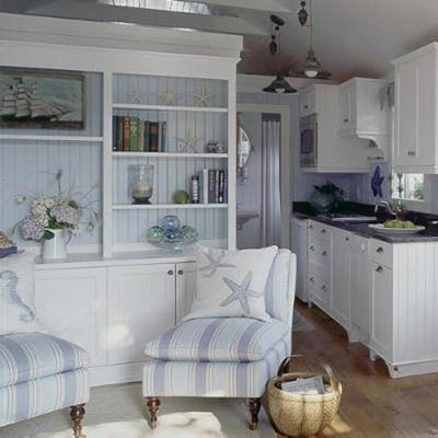 a living room made over in Cape Cod style