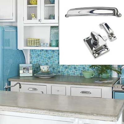 chrome cabinet pulls and latches